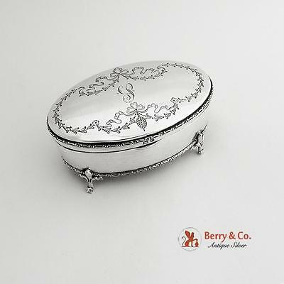 Oval Engraved Jewelry Box Sterling Silver Birmingham 1913