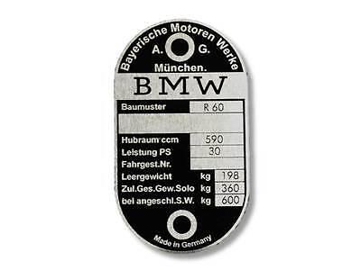 BMW R5 Typenschild Schild id plate