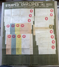 RARE POST OFFICE POSTER PRE- 1915 SHOWING ALL DIFF. SIZES OF ENVELOPES U400-U419