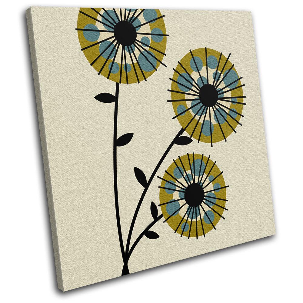 Vintage Abstract Flower Floral SINGLE Leinwand Wand Kunst Bild drucken