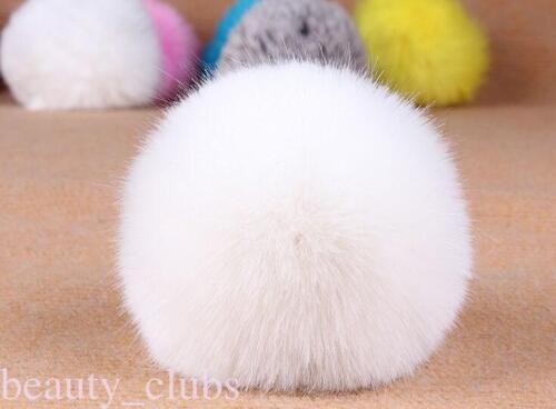 Rabbit Fur Ball PomPom Cell Phone Car Keychain Handbag Key Ring Pendant Colorful