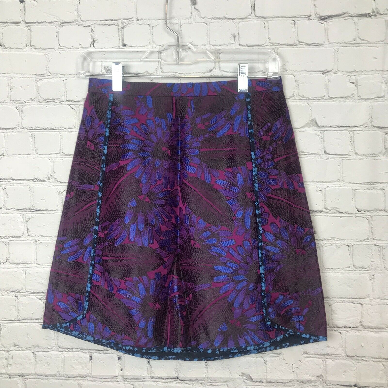 128 J.Crew A-Line Mini Skirt In Midnight Floral Jacquard Purple bluee 0 XS C5911