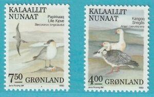 Adaptable Danemark-groenland De 1990 ** Cachet Minr. 199-200 Motif Oiseaux Peut êTre à Plusieurs Reprises Replié.