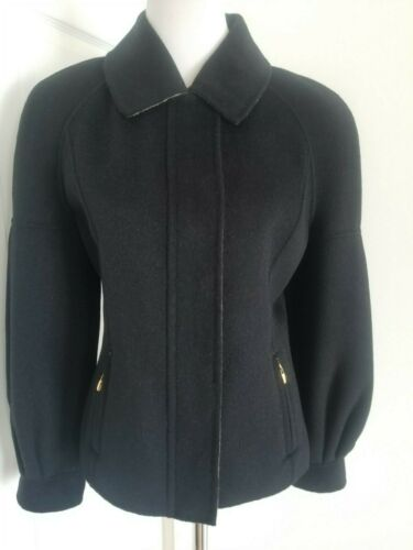 Yellow Tag Black Angora St John Taglia Luxury Cashmere Zip Up Jacket 8 Wool 41g56xqn