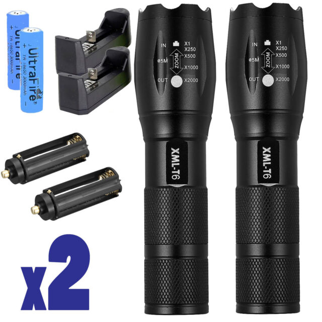 800 Lumens Police Tactical T6 LED 5 Modes 18650 Flashlight Torch Zoomable USA