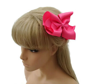 Pretty-Ribbon-Bow-Hair-Clip-in-a-Ruffle-Design-Grip-12-cms-Pink-White