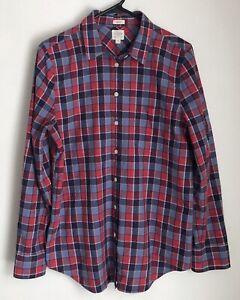 53cb9ac21bdf38 J Crew Womens M Shirt Blouse Red Blue Plaid Homespun Boy Fit Button ...
