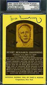 HANK-GREENBERG-PSA-DNA-GOLD-HOF-PLAQUE-AUTHENTIC-HAND-SIGNED-AUTOGRAPH