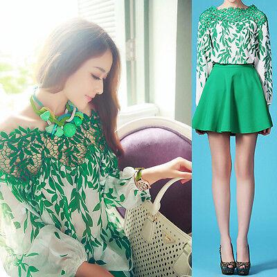 Womens Puff Long Sleeve Chiffon Hollow Lace Neck Leaf Pattern Shirt Blouse Tops