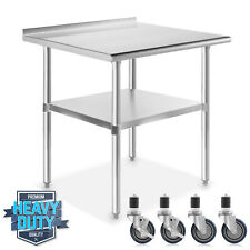 Open Box Stainless Steel 24 X 30 Nsf Kitchen Prep Table W Backsplash Casters