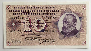 1955-SWITZERLAND-10-Franken-Banknote-Pick-45b-I571