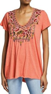 Johnny-Was-Axton-Drape-Tunic-Top-Embroidered-Floral-SZ-Small