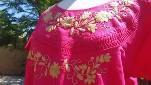 Mexican Oaxacan Pink Embroidered Blouse Medium Authentic Mexican