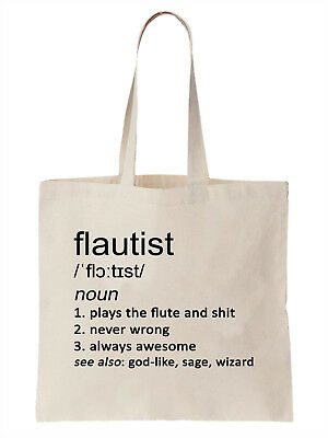 Flautist Definition Funny Tote Bag Shopper Gift Flute Music Player Orchestra | eBay