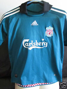 a629f7446 Image is loading Liverpool-FC-Green-Away-Shirt-2008-09-Size-