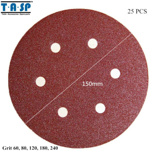 "25PC Sand Paper Hook Loop Abrasive Sanding Disc 6/"" Grits 60 80 120 180 240 150mm"