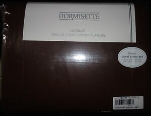 DORMISETTE-GERMAN-LUXURY-Cotton-FLANNEL-3PC-QUEEN-DUVET-COVER-SET-chocolate-NEW