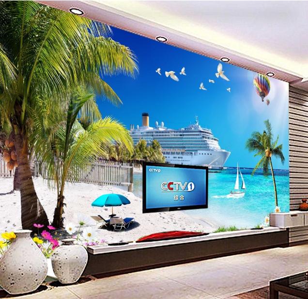 3D Sea Ship Hot Air Balloon Paper Wall Print Wall Decal Wall Deco Indoor Murals