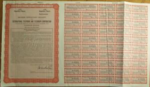 ITT-International-Telephone-Telegraph-SPECIMEN-UK-Stock-Bond-Certificate-Red