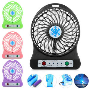 Rechargeable LED Light Fan Air Cooler Mini Desk USB 18650 Battery Portable Fan
