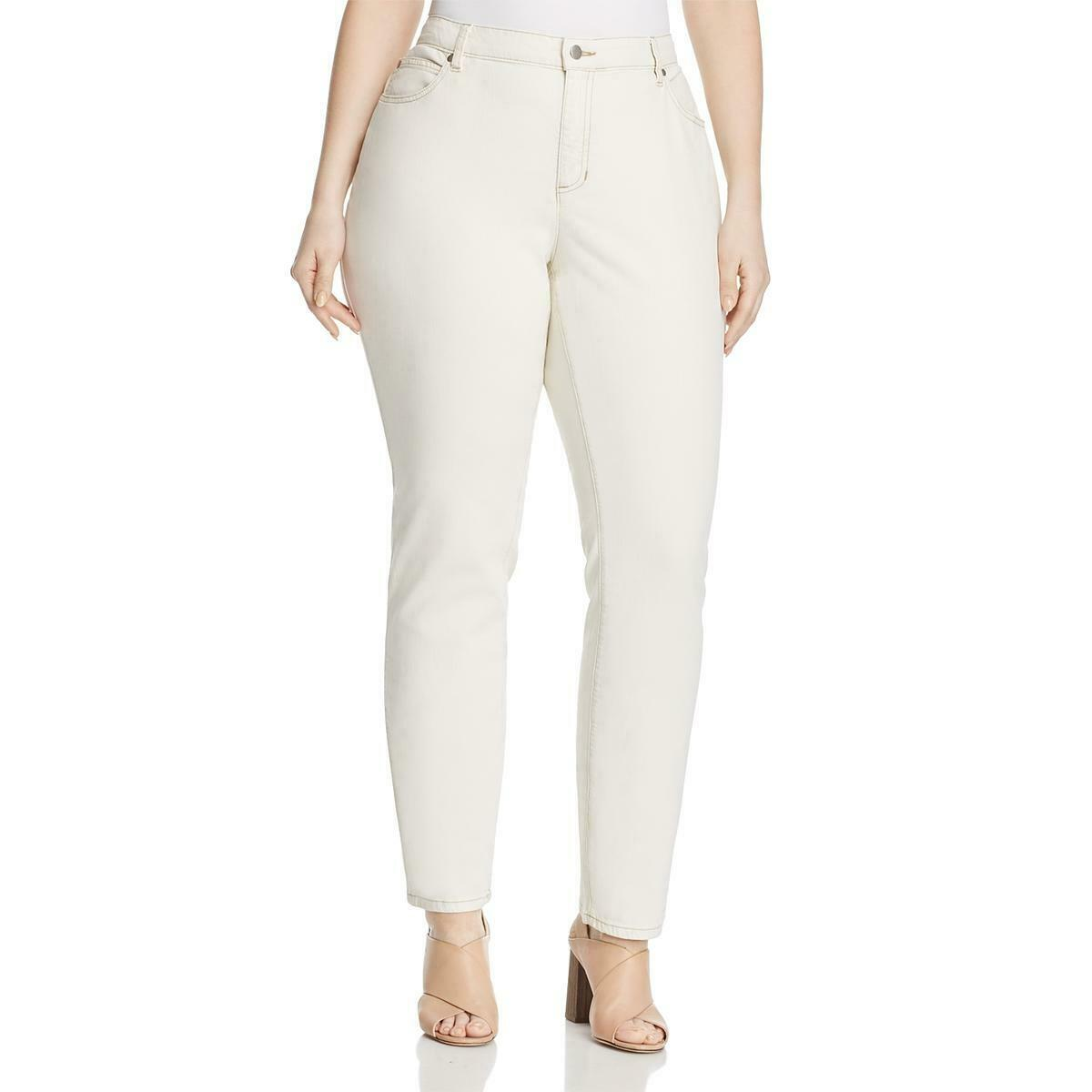 Eileen Fisher Womens Ivory Organic Cotton Skinny Jeans Plus 18W BHFO 9587