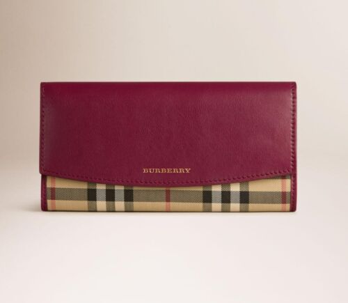 NEW $550 GENUINE 2019 BURBERRY WOMEN LEATHER CONTINENTAL WALLET HORSEFERRY