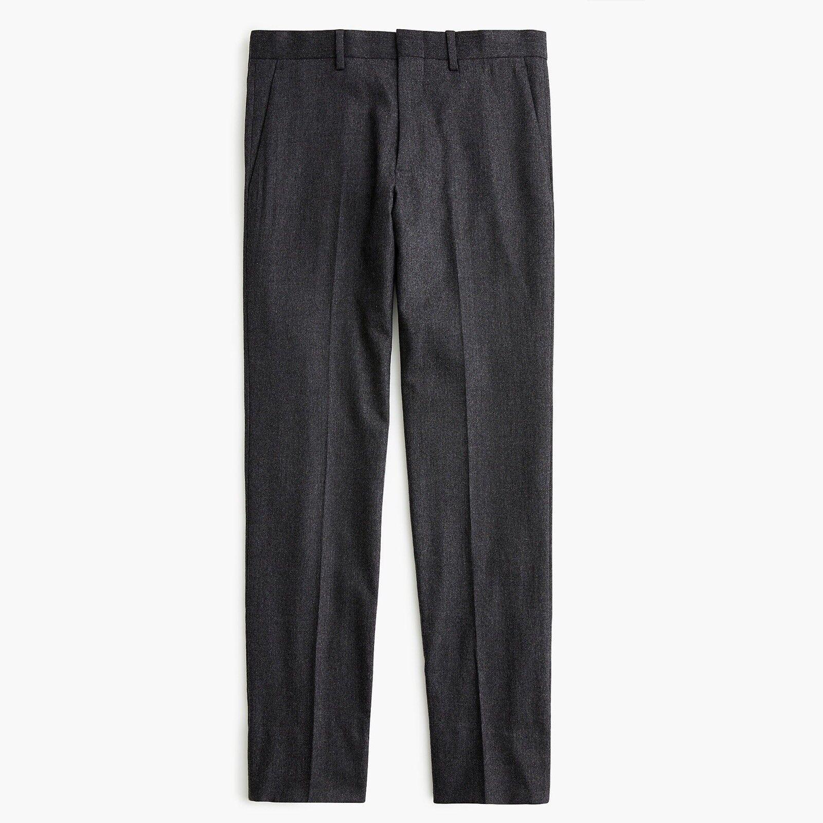 J CREW 32 x 30 Ludlow Slim-fit Suit Pant Charcoal Italian Stretch Wool Flannel