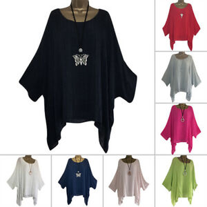 982afdeb3bf5 Plus Size Women s Linen Loose Baggy Tunic Batwing Sleeve Tops T ...