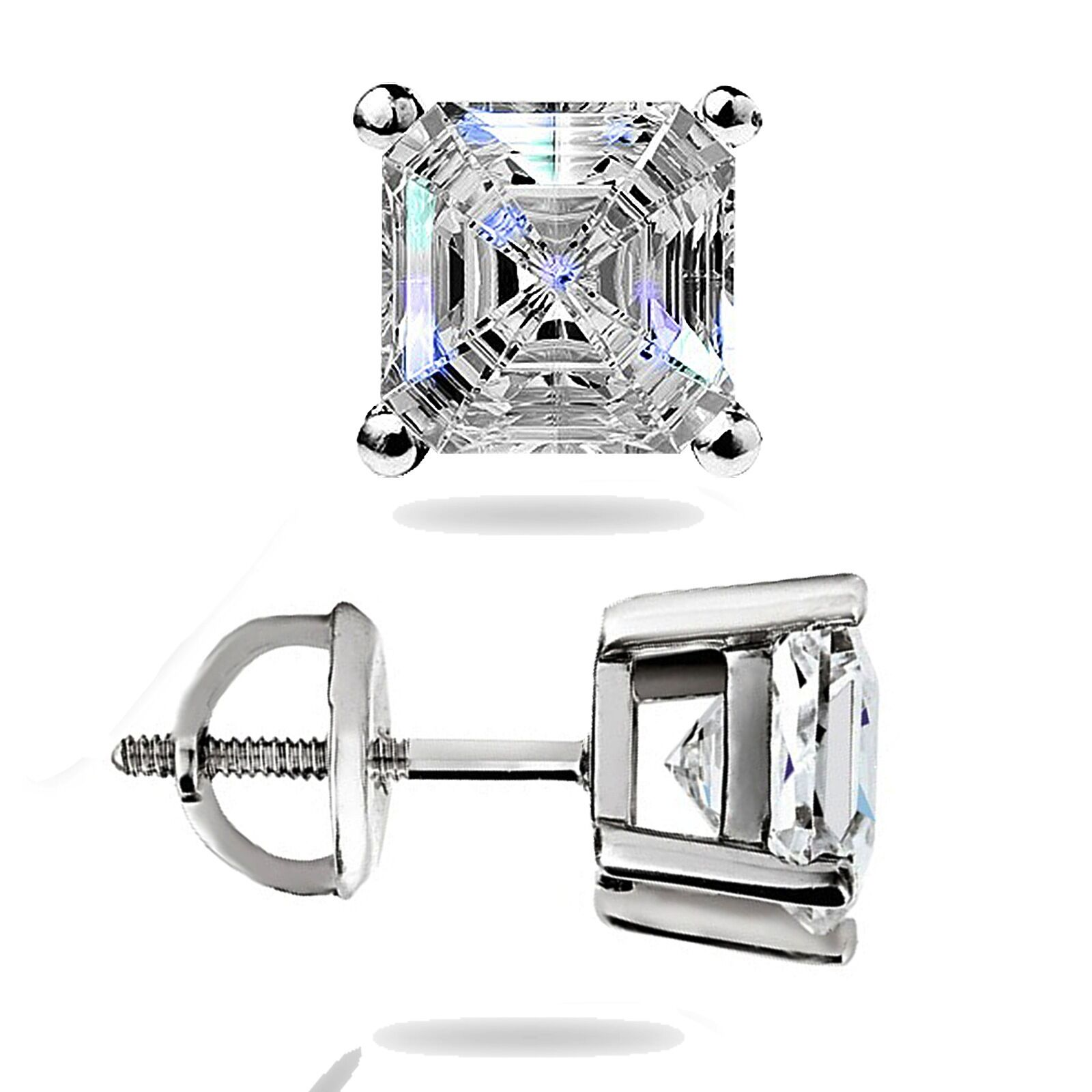 ring stone asher engagement asscher ct set h gia diamond three bar platinum