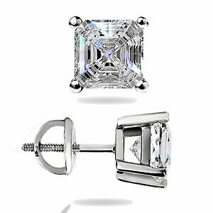1-50Ct-Asscher-Cut-Solitaire-Stud-Earrings-Lab-Diamond-14k-White-Gold-Screw-Back