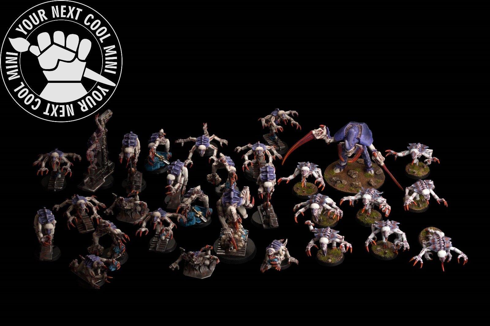 Warhammer 40K Tyranids Army, 28 plastica minis 1 metal Minis PRO PAINT magnetizzato