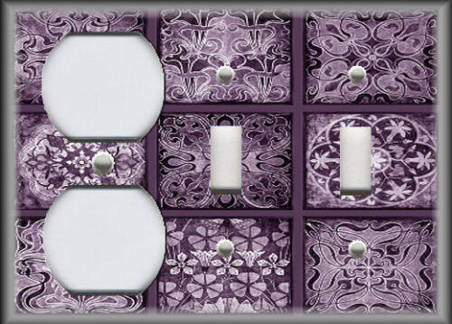 Metal Light Switch Plate Cover Tuscan Tile Mosaic Purple Home Decor Design