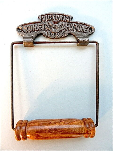 CLASSIC ANTIQUE VICTORIA TOILET FIXTURE CAST IRON AND WOOD TOILET ROLL HOLDER