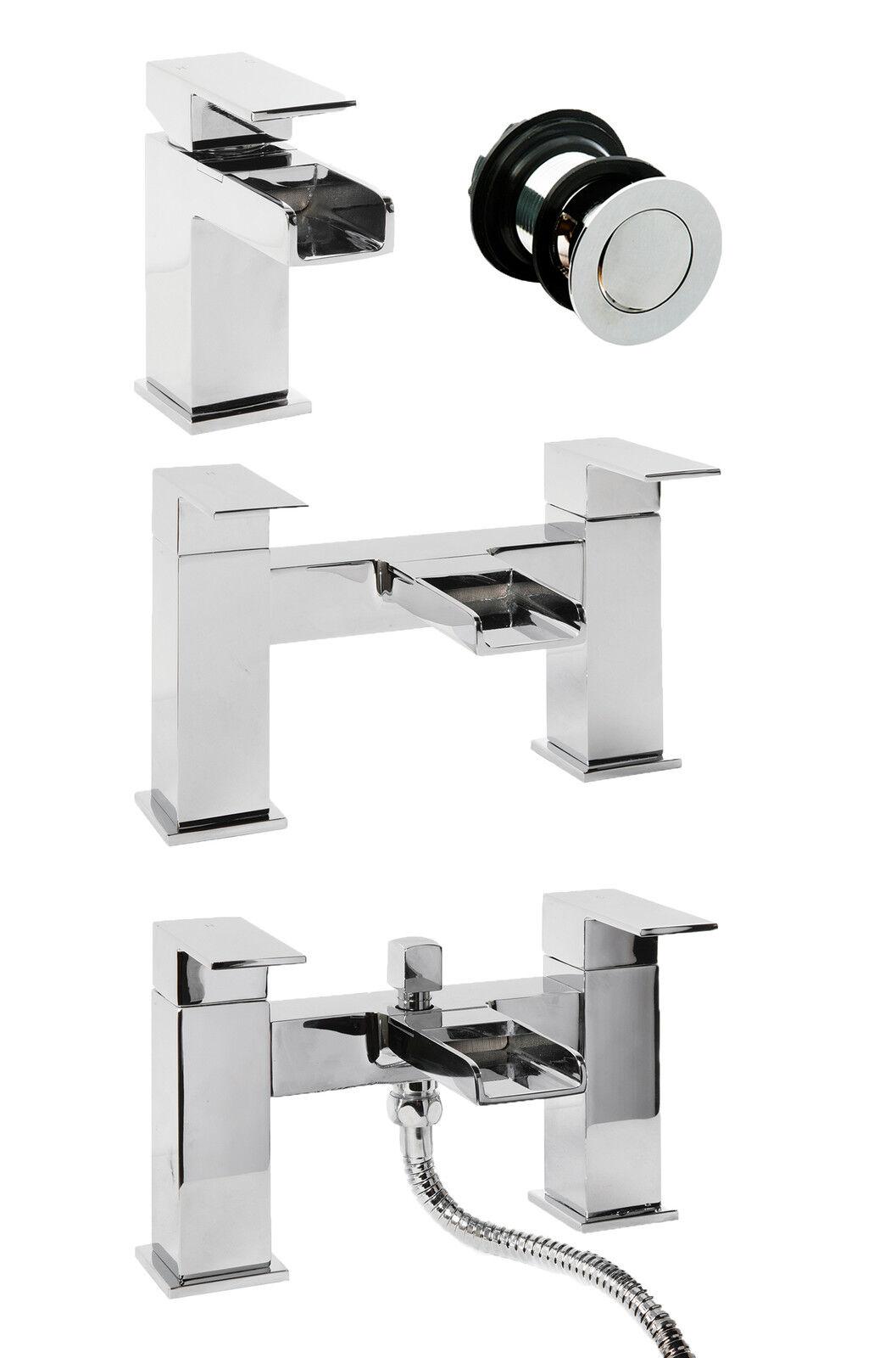 Moderne carré cascade bassin mitigeur bain de remplissage douche mélangeur salle de bains chrome