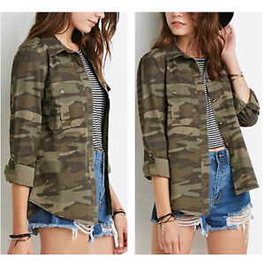 Image is loading Retro-Women-Camouflage-Blouse-Jacket-Army-Jacket-Ladies- f03e335a9