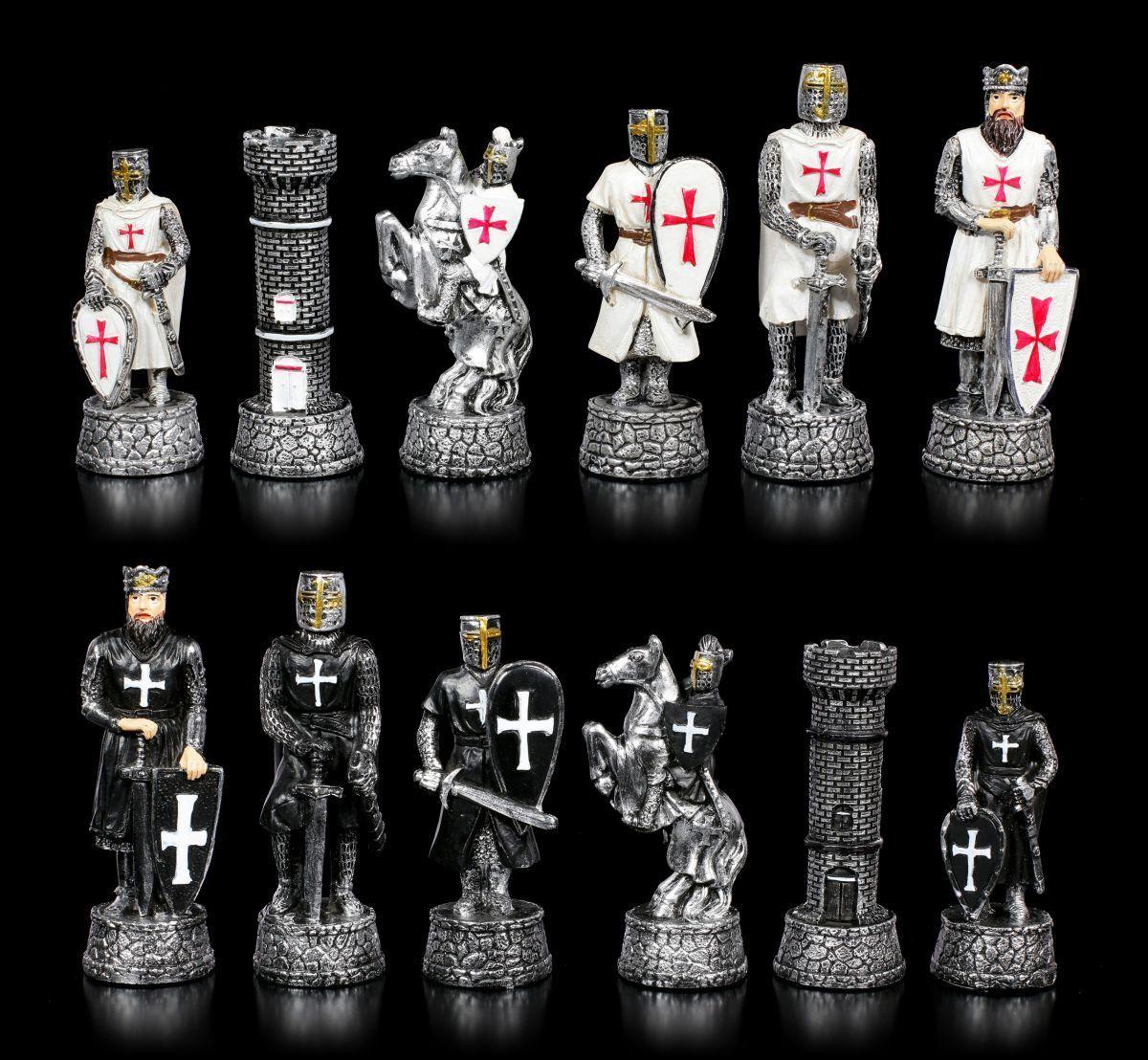 Schachfiguren Set - Kreuzritter Schwarz vs. Weiß - Fantasy Ritter Schach Spiel