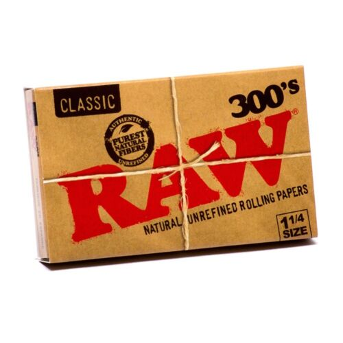 300 Leaves // Papers Each Pack 12x Packs Raw Classic 300 Rolling Paper 1.25