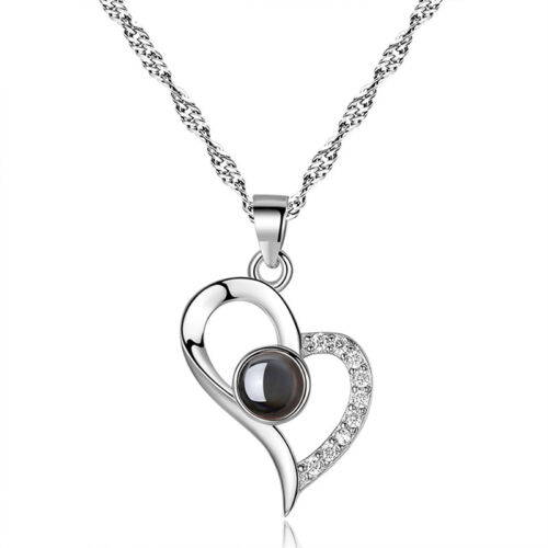 925 Silver Projection I LOVE YOU 100 Languages Pendant Necklace Memory of LOV ed