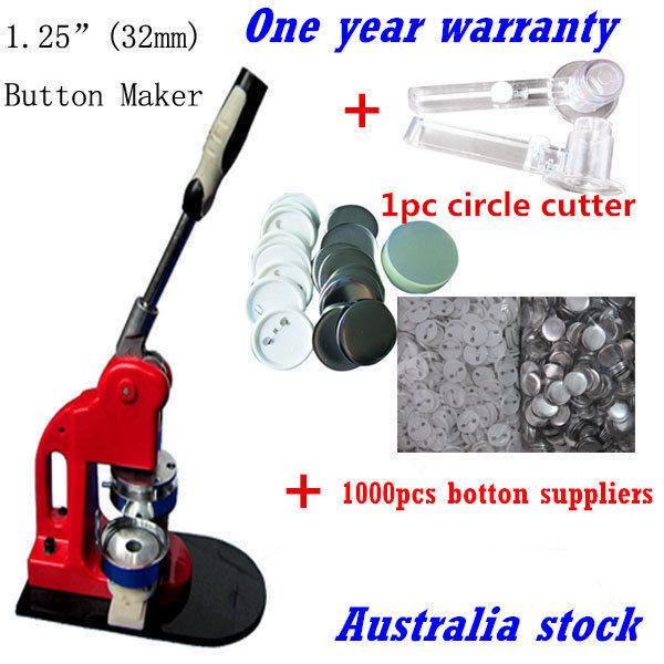 AU 32mm Button Maker Badge Press Machine+1000 Button Supplies +1pc Circle  Cutter