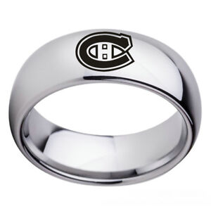 Montreal-Canadiens-Teams-Stainless-Steel-Arc-Edge-Ring-Silver-Band-Size-6-13