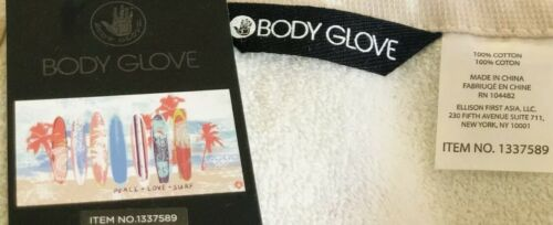 """NWT Body Glove XL Plush PEACE LOVE SURF Beach Towel 100/% Cotton 36"""" x 70"""""""