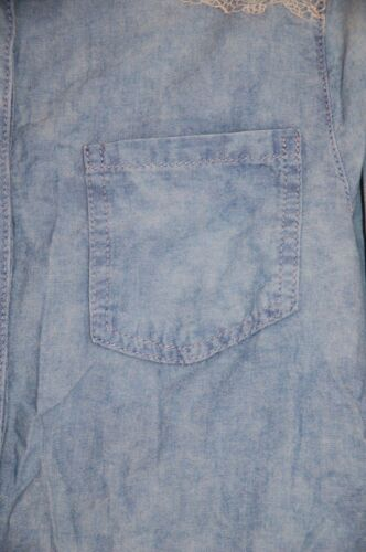 Denim Lace Embroidered 10 Shirt Topshop Wash Shoulders Moto Sz Acid New Nn0OkXP8w