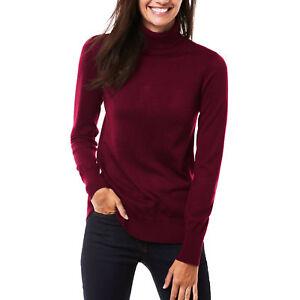 Maglione donna lupetto dolcevita maniche lunghe aderente pullover basic 0638