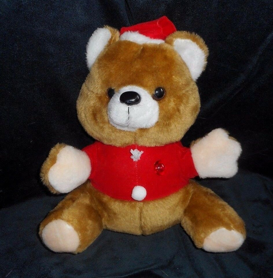 12  VINTAGE CHRISTMAS SONGS MUSICAL TEDDY BEAR BROWN STUFFED ANIMAL PLUSH TOY