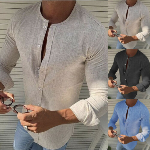 Sommer Männer Casual Langarm Button Hemden Slim Fit T-Shirt Party Strand Top Tee