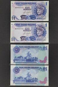Malaysia-1982-84-5th-Rm1-Ringgit-x-2pcs-Perfect-UNC-Prefix-BH