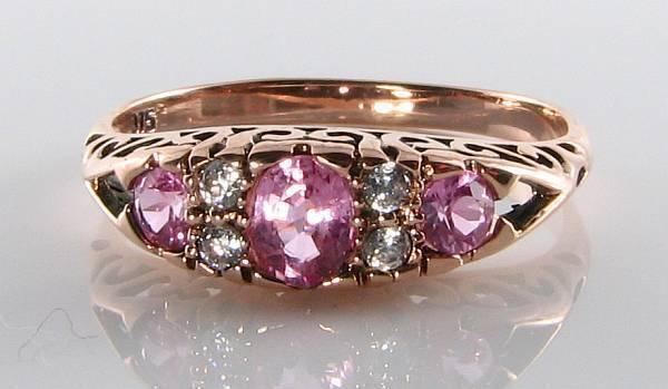 CLASS 9K 9CT pink gold PINK SAPPHIRE & DIAMOND ART DECO INS RING FREE SIZING
