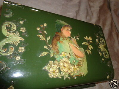 RARE ANTIQUE VICTORIAN CELLULOID EMBOSSED LADY FLORAL CHERUBS DRESSER TOILET BOX