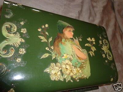 RARE ANTIQUE VICTORIAN CELLULOID EMBOSSED LADY FLORAL CHERUBS DRESSER TOILET BOX