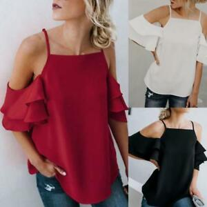 AU-Womens-Cold-Off-Shoulder-Tops-T-Shirt-Solid-Short-Sleeve-Summer-Blouse-Tees